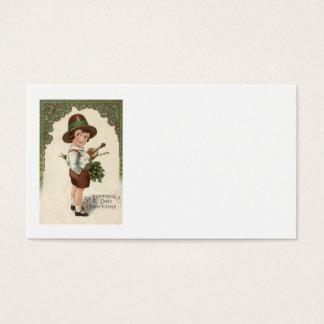 Mädchen-Kleeblatt-Violinen-St Patrick Tag Visitenkarten