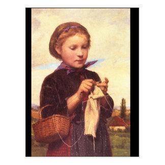 Mädchen Knitting', Albert_Portraits Postkarte