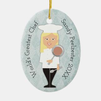 Mädchen-Koch Weihnachtsverzierung des Keramik Ornament