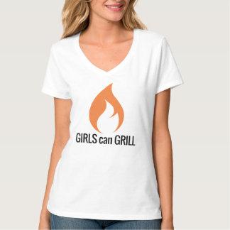 Mädchen können V-Hals grillen T-Shirt