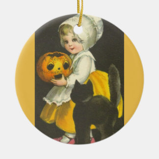 Mädchen-Kürbis-schwarze Katzen-Vintage Rundes Keramik Ornament
