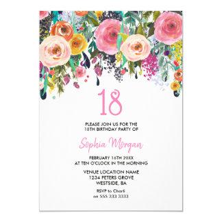 Mädchen-laden 18. Geburtstags-Party rosa Blumen Karte