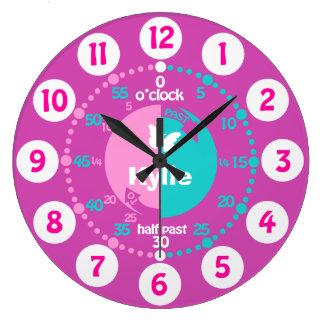 Mädchen lernen, Zeit rosa Aquanamenuhr zu sagen Uhr