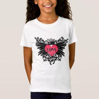 Mädchen-Liebe-Herz-Rosa mit Krone und Flügeln T-Shirt