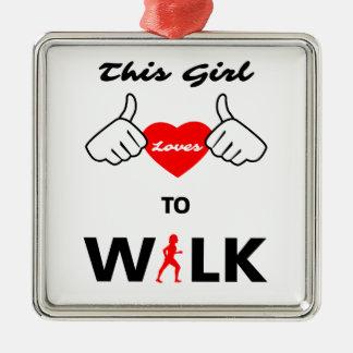 Mädchen-Lieben zu gehen Silbernes Ornament