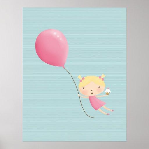 Mädchen mit Ballon-u. Kuchen-Plakat