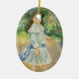 Mädchen mit Band durch Pierre Renoir, Vintage Keramik Ornament