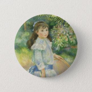 Mädchen mit Band durch Pierre Renoir, Vintage Runder Button 5,1 Cm