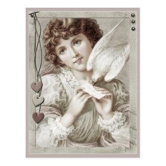 Mädchen mit Brieftaube CC0584 Postkarte
