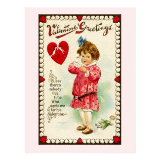 Mädchen mit defektes HerzVintagem Valentine Postkarte