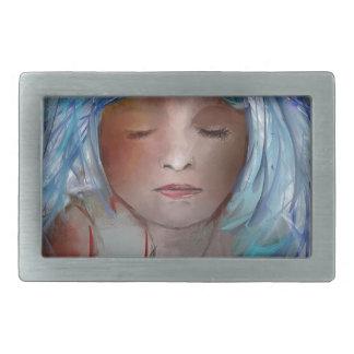 Mädchen mit dem blauen Haar Rechteckige Gürtelschnalle