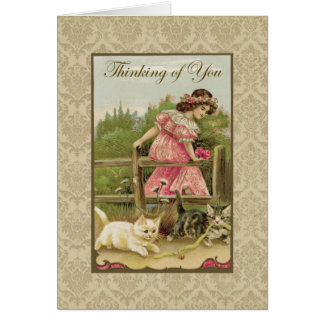 Mädchen mit den Katzen, die an Sie Vintage Karte