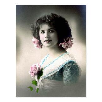 """Mädchen mit den rosa Rosen"" Vintag Postkarten"