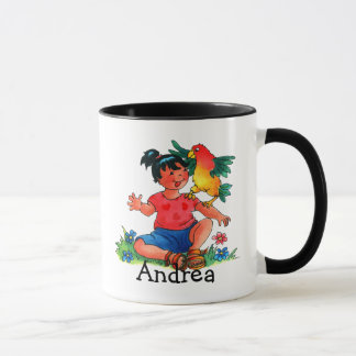 Mädchen mit der Papageien-Tasse Tasse