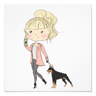 Mädchen mit einem Hund Fotodruck
