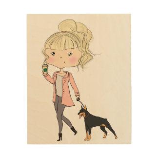 Mädchen mit einem Hund Holzdruck