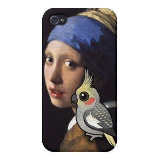 Mädchen mit einem PerleCockatiel iPhone 4 Cover