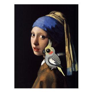 Mädchen mit einem PerleCockatiel Postkarte