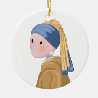 Mädchen mit einem Perlen-Ohrring Keramik Ornament