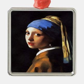 Mädchen mit einem Perlen-Ohrring nach Johannes Silbernes Ornament