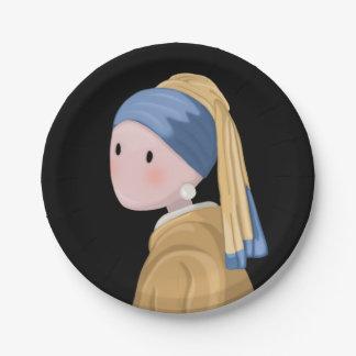 Mädchen mit einem Perlen-Ohrring Pappteller