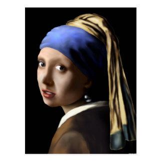 Mädchen mit einem Perlen-Ohrring Postkarte