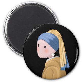Mädchen mit einem Perlen-Ohrring Runder Magnet 5,7 Cm