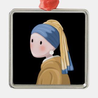 Mädchen mit einem Perlen-Ohrring Silbernes Ornament