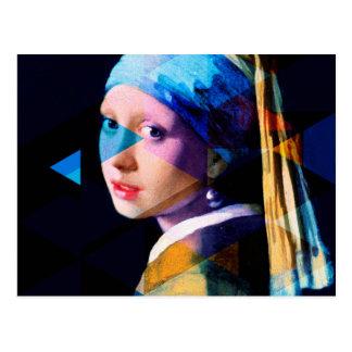 Mädchen mit einem Perlenohrring WIEDER GEMISCHT Postkarte