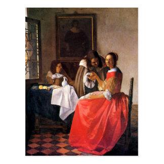 Mädchen mit einem Weinglas durch Johannes Vermeer Postkarte