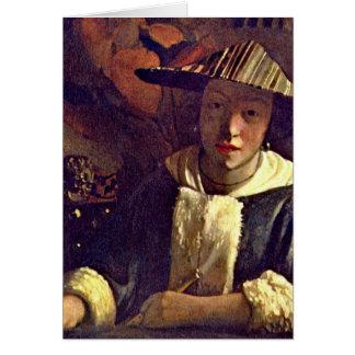 Mädchen mit einer Flöte durch Johannes Vermeer Karte