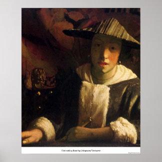 Mädchen mit einer Flöte durch Johannes Vermeer Poster