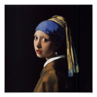 Mädchen mit einer Perlen-Ohrring-Malerei Poster