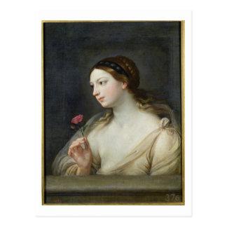 Mädchen mit einer Rose (Öl auf Leinwand) Postkarte