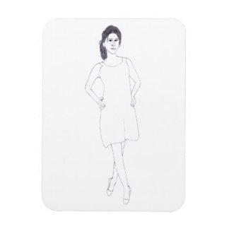 Mädchen mit einfachem KleiderFotomagneten Magnet