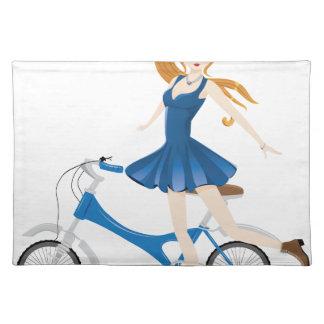 Mädchen mit Fahrrad 2 Stofftischset