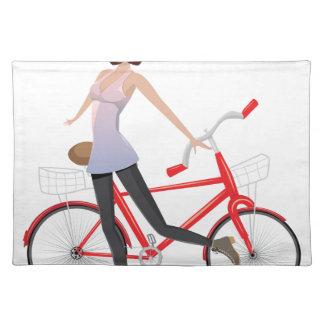 Mädchen mit Fahrrad Stofftischset