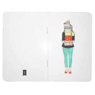 Mädchen mit Geschenk-Zeitschrift Taschennotizbuch