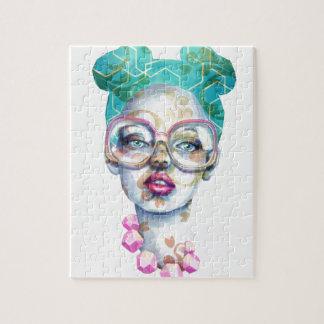 Mädchen mit Glas-Funky Wasserfarbe-Kunst Puzzle