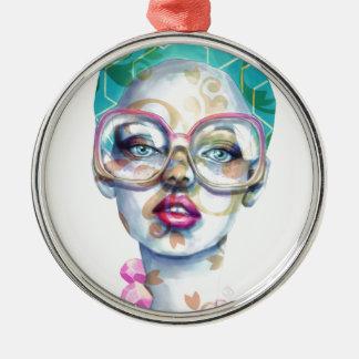 Mädchen mit Glas-Funky Wasserfarbe-Kunst Silbernes Ornament