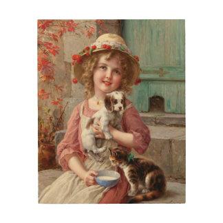 Mädchen mit Haustier-hölzerner Wand-Kunst Holzdruck