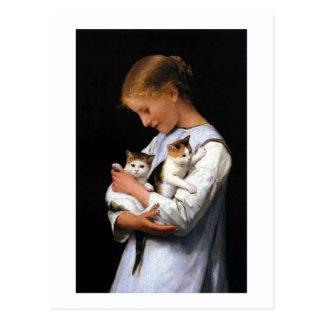 Mädchen mit Kätzchen, Albert Anker Postkarte
