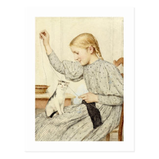 Mädchen mit Katze, Albert Anker Postkarte