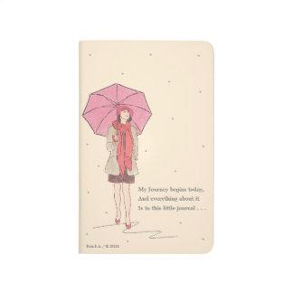 Mädchen mit roter Regenschirm-/Taschen-Zeitschrift Taschennotizbuch