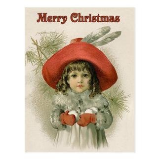Mädchen mit Schneebällen Postkarte