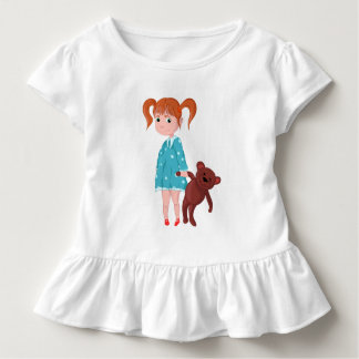 Mädchen mit Teddybären Kleinkind T-shirt