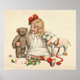 Mädchen mit Teddybären und Lamm Poster