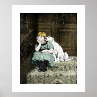 Mädchen mit weißem Hund Poster