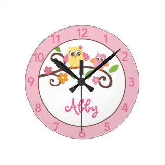 Mädchen-Mod-Eulen-personalisierte Kinderzimmer-Wan Uhr