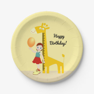 Mädchen nahe Giraffenmachthaber Geburtstags-Party Pappteller